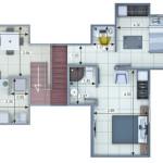 Plano Apartamento Tipo 1 Duplex