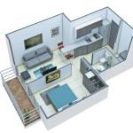 Isometría Apartamento Tipo 1
