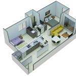Isometría Apartamento Tipo 2